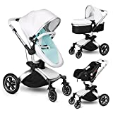 Amzdeal Kinderwagen 3 in 1 Kombikinderwagen, 2018 Kinderwagen mit Babyschale, Babywanne, Sportwagen und Zubehör, für 0-3 Jahre alt Baby (weiß / silber)