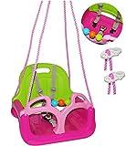 Babyschaukel / Gitterschaukel - mitwachsend & umbaubar - mit Gurt - ' ROSA / PINK ' - leichter...