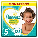 Pampers Premium Protection Windeln, Gr. 5 Junior (11-16 kg), Monatsbox, 1er Pack (1 x 136 Stück)