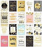 Set 20 exklusive Premium Geburtstagskarten mit feiner Goldprägung und Umschlag. Glückwunschkarte Grusskarte zum Geburtstag. Geburtstagskarte Mann Frau (Doppelkarten/Klappkarten mit Briefumschlag)