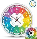 Funtini Kinderuhr-Set lautlos | Wanduhr Ø30cm mit Spielzeug-Lernuhr zum Uhr lesen lernen | Kinderwanduhr groß und bunt für Jungen & Mädchen | Kinderzimmer Uhren-Set ohne Ticken