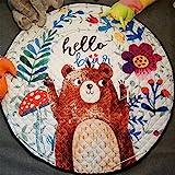 GWELL Kinder Aufräumsack Cartoon Spielmatte Spieldecke Spielzeug Speicher Tasche Kinderteppich Sterne Aufbewahrungsbeutel für Kinderzimmer 145cm Bär
