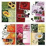 50 Geburtstagskarten Klappkarten mit 50 Umschlägen 6 Motive Grußkarten Glückwunschkarten Blumen...
