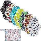 Rovtop 7 Stück 25cm Damenbinden waschbare Pads Menstruationstuch mit Bambusgewebe und 1 tragbare...