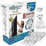 Kippsicherung TV und Möbel Gurte - mit Montageset - TV Kippschutz Gurte für Baby Sicherheit - 8 Stück in weiß