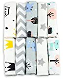 Spucktücher Baby - Moltontücher - 10er Pack - 50x35cm – Spucktuch – 100% Baumwolle Flanell Weiss,Bunt- hergestellt nach Ökotex Standard 100– Moltontuch – Spucktücher für Jungen oder Mädchen (Unisex)