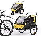 Fiximaster 360° Drehbar Kinder Fahrradanhänger Transportwagen Kinderwagen Zweisitzer Baby Kinder...