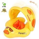 Peradix Baby Schwimmreifen, Baby Schwimmring Schwimmtrainer mit abnehmbarem Sonnendach, Kinderboot Schwimmer Schwimmen mit Sonnenschutz für Kinder ab 3 Monaten