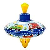 ISAKEN Brummkreisel 14 cm, Metall Kreisel, Schwungkreisel aus Blech, klassischer Pumpkreisel mit Spitze, Blechkreisel aus Metall mit Auto Motiv, Spielzeugkreisel für Kinder