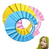 3 Pack Duschhaube Kinder Schutz für Babys gegen Shampoo,Baby Bad Mütze Safe Shampoo Cap Weich...