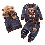 LZH Baby Boy Girls 3pcs Kleidung Sets Langarm Top Kapuzenweste Hose Plüsch Dicke Herbst Winter Bär Print Outfits 0-3 Jahre