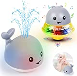 OFOCASE Spray Whale Baby Bath Toys, Whale Induction Spray Water Toy with LED Colorful Light Automatic Induction Sprinkler Bath Toy Bathtub Toys for Toddlers, Bathtime Gift for Kids(Grey + Space Base)