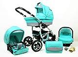 Kinderwagen Largo,3 in 1 -Set Wanne Buggy Babyschale Autositz mit Zubehör Mint