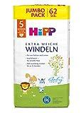 HiPP Babysanft Windeln für Kleinkinder, Geeignet von 11-17 kg, Gr. 5 (86-104), 5 Jumbopack, 62...