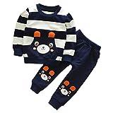 FNKDOR 2-5 Jahre Kinder Baby Mädchen Jungen Kleidung Gestreiften Bär Langarmshirt + Hosen Outfits Set(3 Jahre,Navy)