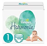 Pampers Baby Windeln Größe 1 (2-5 kg) Harmonie, 102 Stück, HALBMONATSBOX, Sanfter Hautschutz Und...