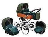 SKYLINE Klassisch Retro Stil Wicker LUX Kombi-Kinderwagen Buggy 3in1 Reise System Autositz (Isofix)...