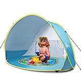 Glymnis Baby Strandmuschel Strandzelt Pop-up Baby Strand Zelt mit trennbarer Pool UV-Schutz UPF 50+...