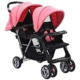 vidaXL Geschwisterwagen Kinderwagen Babywagen Buggy Zwillingswagen Zwillingsbuggy Baby Kleinkinder Rosa Schwarz Stahl Klappbar 6-36 Monate