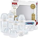 NUK Nature Sense Perfect Babyflaschen Starter Set | 0–18 Monate | 4 x Anti-Colic-Babyflaschen, Schnuller, Flaschenbürste & mehr | BPA-frei | Herz (neutral) | 9 Stück
