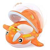 Peradix Baby Schwimmring mit Sonnendach, Aufblasbares Schwimmhilfen, Schwimmtrainer Kinderboot mit Lenkrad, Orange