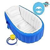 Aufblasbare Badewanne Baby Babybadewanne Babywanne Aufblasbar mit Luftpumpe und Duschhaube für...