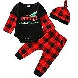 FANCYINN Baby Jungen Mädchen Weihnachtskostüme Outfits Langarm Plaid Strampler Weihnachtsmann Strampler + Hosen + Hut 3 STK. Kleidung Sets 0-3 Monate