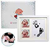 Ballery Baby Bilderrahmen für Fußabdruck und Handabdruck, Hochwertigem Schöne Bilderrahmen mit Gipsabdruck für Baby Hand und Fuß Abdruckset Bilderrahmen Baby Geschenk für Neugeborene