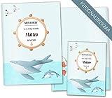 U-Heft Hülle SET Walfisch Untersuchungsheft Hülle & Impfpasshülle schöne Geschenkidee personalisierbar mit Namen (U-Heft Hüllen Set personalisiert, Wal & Delphin)