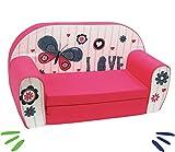 DELSIT Kindersofa zum Ausklappen Ausklappbare Kinder Sofa Baby Kindermöbel für Mädchen LOVE Rot