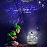 Sternenhimmel Projektor Lampe Kinder LED Nachtlicht Baby Sterne Lampe mit 6 Projektion Films 5 Licht...