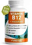 VITAMIN B12 Depot • 1000µg + FOLSÄURE • 400µg   180 kleine Tabletten   12 Monatspackung   Methylcobalamin B12   Quatrefolic® Folsäure   Made in Germany   100% vegan