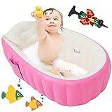 Maydolly Aufblasbare Baby-Badewanne, rutschfest, weich, faltbar, für Dusche, Pool, Reise, Badewanne, große Größe (für 0–3 Jahre) + Luftpumpe, Pink