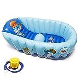 Signstek Delphin Baby-Wanne Kinderwanne Badewanne Aufblasbare Baby Badewanne,Tragbare aufblasbare Badewanne Baby Schwimmbecken mit Weichem Kissen-Zentralsitz für 6 Monaten bis 4 Jahre alte Kind