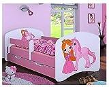 HB Kinderbett mit Matratze und Bettkasten verschiedene Varianten Mädchen ROSA (160x80 cm, Prinzessin mit Einhorn)