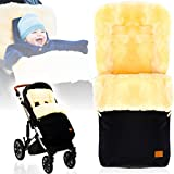 Winterfußsack/Fußsack (100% ECHTES LAMMFELL) für Kinderwagen/Buggy/Jogger Kinderwagenfußsack (SCHWARZ)