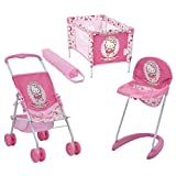 Hauck Toys for Kids Puppen-Set 3-teilig (Buggy, Hochstuhl & Reisebett) - Hello Kitty - Rosa