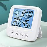 Digitales Hygrometer Innen, Thermometer Thermo-Hygrometer mit Hhen Genauigkeit, Temperatur und Luftfeuchtigkeitsmesser Hydrometer Feuchtigkeit Digital mit Hintergrundbeleuchtung, Uhr & ℃ / ℉ Funktion