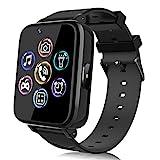Smartwatch für Kinder, Uhr Telefon für Mädchen Jungen Touchscreen mit Musik Player, Spiel, Kamera, Taschenlampen, Wecker, Smart Watch Telefonieren Geschenk (Schwarz)