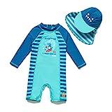 BONVERANO Baby Junge Badeanzug EIN stück Langärmelige-Kleidung UV-Schutz 50+ Badekleidung MIT Einem Reißverschluss (Blauer Dinosaurier, 80-86)