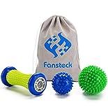 Fußmassageroller Set und Massagebälle für Plantarfasziitis, Fansteck Faszienball Roller & Bälle,...