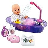 Badezeit Baby Doll Spielset Baby-Born badewanne mit funktionierendem Duschspray und Zubehör für Kinder