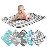 Wickelunterlage Baby Wickelauflage Baby Wickel-Decke Unterlage für Säuglinge und Kleinkinder; atmungsaktiv, waschbar, wiederverwendbar; 50 x 70 cm (ZickZack-Grau)