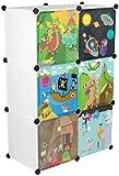 KEKSKRONE Großer Kinderschrank Bunte Motiv-Türen - DIY Stecksystem - 6 Module je 37 x 37 x 37 cm,...
