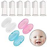 redcherry 9 Stück Baby Zahnbürste Silikon, Baby Finger Zahnbürste Fingerzahnbürste baby inkl. Aufbewahrungsbox für Zähneputzen und Zahnfleischmassage Mundhöhlefür Babys
