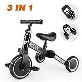 besrey 3 in 1 Laufräder Laufrad Kinderdreirad Dreirad Lauffahrrad Lauflernhilfe für Kinder ab 1 Jahre Schwarz … (A)