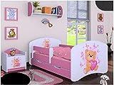 naka24 HB Kinderbett mit Matratze und Bettkasten - NEU, Verschiedene Motive Rosa (160x80cm mit...