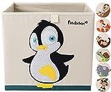 Flöckchen Kinder Aufbewahrungsbox, Spielzeugbox für Kinderzimmer I Spielzeug Box (33x33x33) passt ins Kallax Regal I Kinder Motiv Tiere (Polly der Pinguin)
