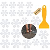 20 Stück Anti-Rutsch Aufkleber Blumen, Anti-Rutsch Streifen für Badewanne & Dusche - Transparent & Selbstklebend - Antirutsch Sticker Badewanne-Antirutschmatten Dusche - Duschmatten Dusche rutschfest
