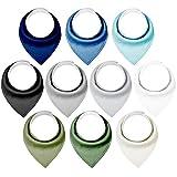 Yoofoss Baby Dreieckstuch 10er Lätzchen Halstücher Weich und Saugfähig Baumwolle Spucktücher mit Druckknöpfen für Junge und Mädchen